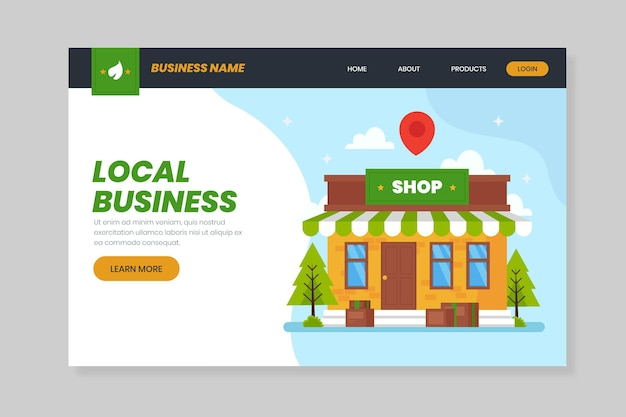 Corner store local business landing page