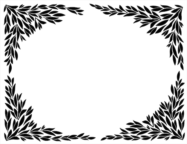 Corners for frames of leaf silhouettes