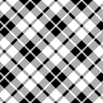 Cornish tartan diagonal fabric texture black and white seamless pattern