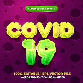 Corona covid 19 редактируемый текстовый эффект 3d шаблон syle
