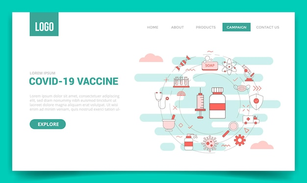 Corona covid-19 vaccine concept with circle icon for website template or landing page banner homepage outline style illustration