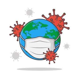 地球の周りのコロナウイルスベクトルアイコンイラスト。コロナウイルス攻撃世界フラットアイコン