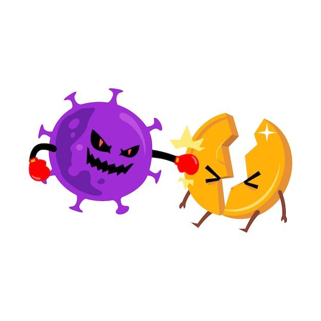 コロナウイルス攻撃コイン文字
