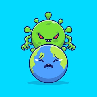 Corona virus control world icon illustration. corona mascot cartoon character. world icon concept isolated
