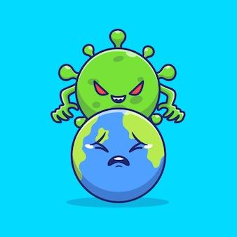コロナウイルスコントロールの世界のアイコンイラスト。コロナマスコットの漫画のキャラクター。分離された世界のアイコンの概念
