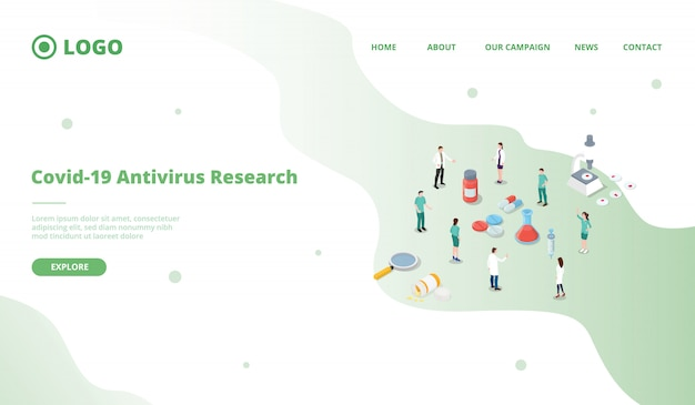 Corona virus covid-19 antivirus vaccine research development landing page template
