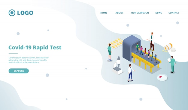 Corona virus covid-19 rapid test or screening mass landing page template