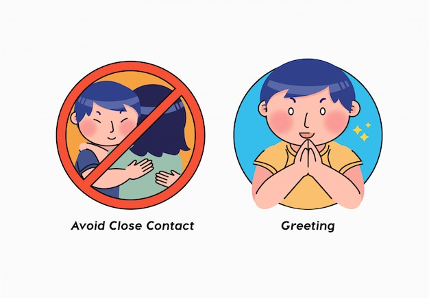 Corona virus covid-19 sticker warning illustration