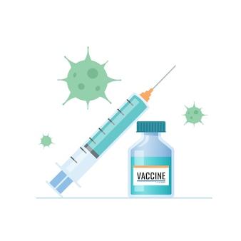 Вакцина против коронирусного вируса ковид-19, инъекция, флакон с вакциной, иллюстрация