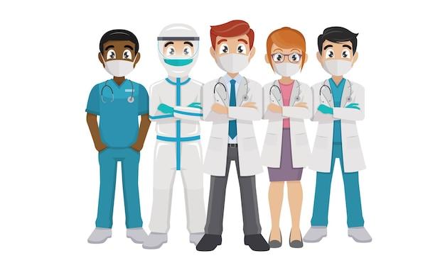 Covid19と戦うコロナウイルスの医師と看護師のチーム