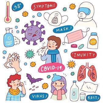 Corona virus doodle element