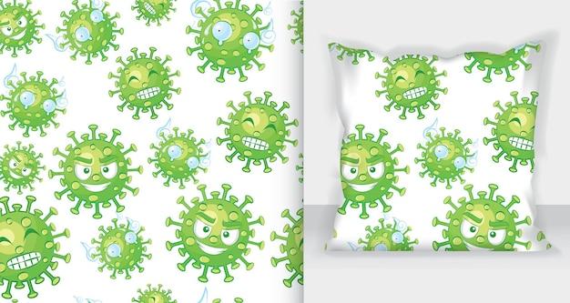 Бесшовный узор из смайликов вируса короны. вирус короны в ухане, китай, глобальное распространение и концепция остановки вируса короны. распространение гриппа и болезней легких по всему миру.
