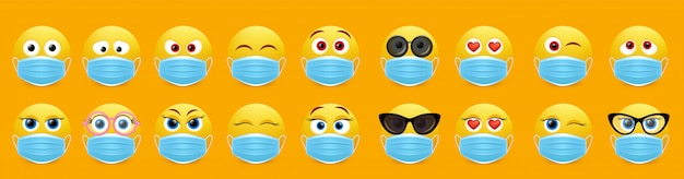 Corona virus face mask emoji set,   isolated illustration