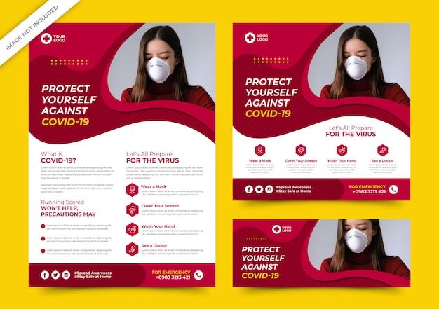 Флаер corona virus и шаблоны баннеров в социальных сетях premium