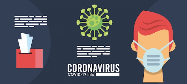 Corona virus infographic with person using medical mask vector illustration design