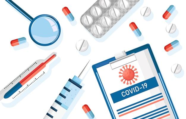 Лекарственные препараты от вируса корона с таблетками, уколами и бумажным буфером обмена со статистикой