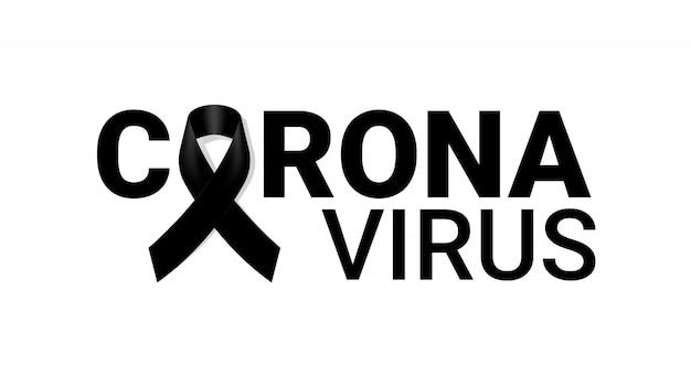 Corona virus mourning symbol with black respect ribbon . rip funeral illustration.