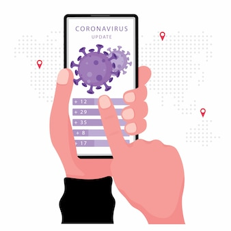 Corona virus or  news update feature hand holding smartphone with virus vector on the screen