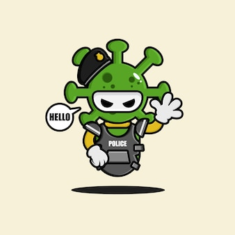 The corona virus police robot character design
