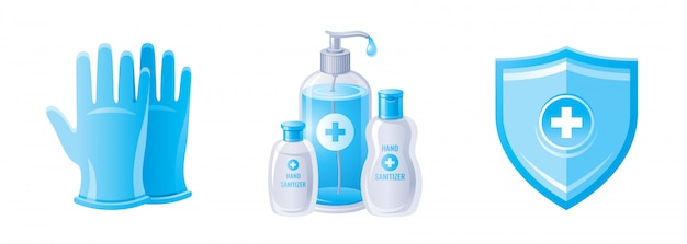 Corona virus prevention set with gloves, hand sanitizer bottles, protect shield