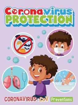 コロナウイルス保護インフォグラフィック