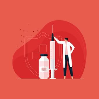 코로나 바이러스 백신과 해독제 개념은 심각한 질병으로부터 보호를 받고 예방 접종을 받고 자신을 보호합니다
