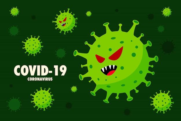 コロナウイルスベクトルイラスト。感染症。緑の背景。健康的なインフォグラフィック。発生の世界的な流行の警告。
