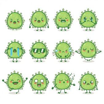 Набор милого персонажа corona virus в различных эмоциях