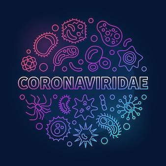 Coronaviridae concept outline colored round icons