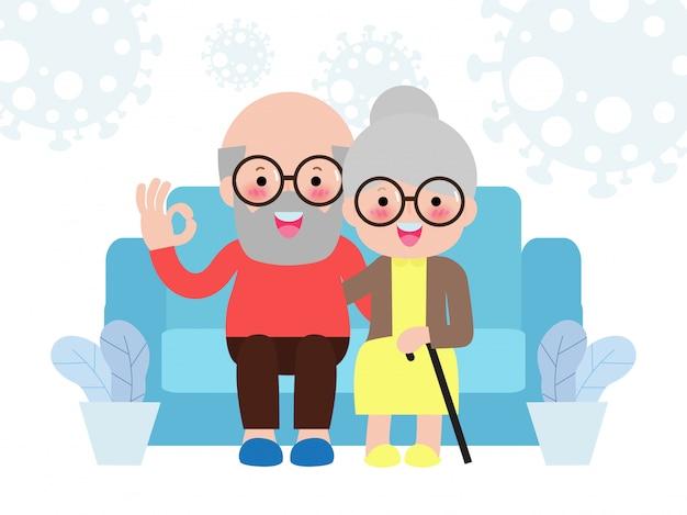 コロナウイルス(2019-ncov)covid-19、シニアカップルは在宅啓発ソーシャルメディアキャンペーンとコロナウイルス予防、幸せな家族のライフスタイル活動に滞在し、白い背景の上の家に一緒に滞在