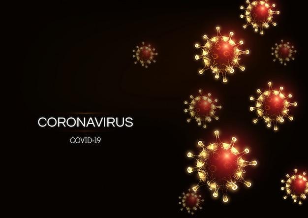 Футуристический шаблон для веб-баннеров coronavirus 2019-ncov, covid-19 на темно-красном