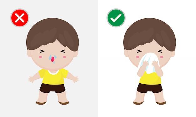 Концепция профилактики заболеваний коронавирусом 2019-ncov или covid-19, человек чихает, покрывая рот и нос тканью, и не делает этого. здоровый способ обезопасить от вирусных инфекций. концепция здравоохранения