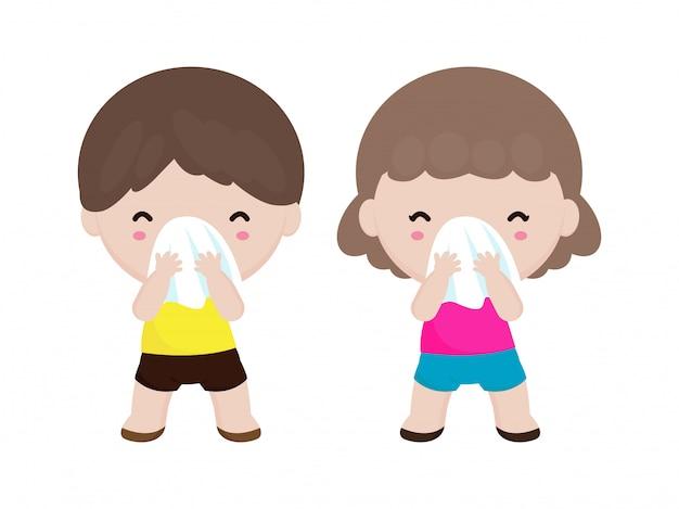 白い背景のベクトル図に分離されたティッシュでカバー口と鼻をくしゃみかわいい子供たちとコロナウイルス2019-ncovまたはcovid-19病気予防の概念