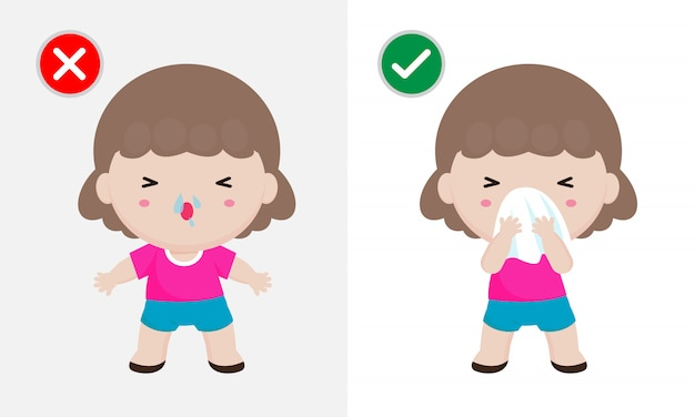 Концепция профилактики заболеваний коронавирусом 2019-ncov или covid-19, женщина чихает, покрывая рот и нос тканью, и не делает этого. здоровый способ обезопасить от вирусных инфекций. концепция здравоохранения