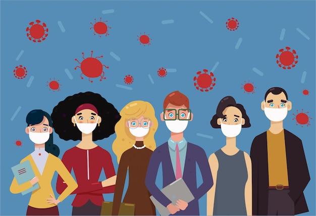 コロナウイルス(2019-ncov)フェイスマスクを身に着けている人々、大気汚染、汚染された空気、世界の汚染。病気、インフルエンザ、防毒マスクを防ぐために医療用マスクを着ている同僚のグループ。