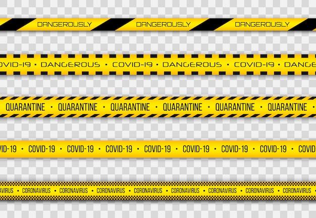 コロナウイルス(2019-ncov)、現実的なシームレスな黄色と白のセキュリティテープ、警告テープフェンシングインフルエンザ。 covid-2019の世界的なパンデミック。パンデミック新規コロナウイルスcovid-19疾患。