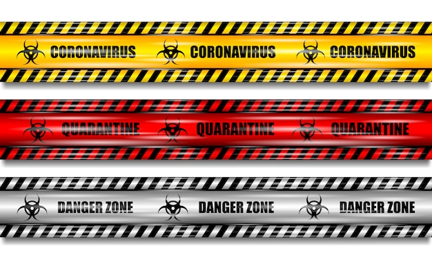 コロナウイルス(2019-ncov)、孤立した背景に現実的なシームレスな黄色、赤と白のセキュリティテープ、コロナウイルステープ、現実的なイラストを設定