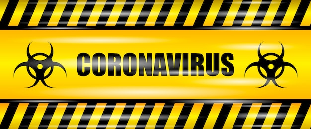 Coronavirus (2019-ncov) realistic seamless yellow ribbon, caution coronavirus, realistic  illustration