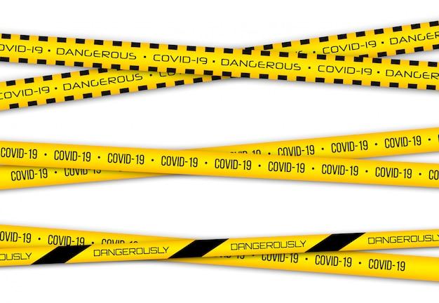コロナウイルス(2019-ncov)、現実的なシームレスな黄色のセキュリティテープ、警告テープフェンシングインフルエンザ。 covid-2019の世界的なパンデミック。パンデミック新規コロナウイルスcovid-19疾患。図。