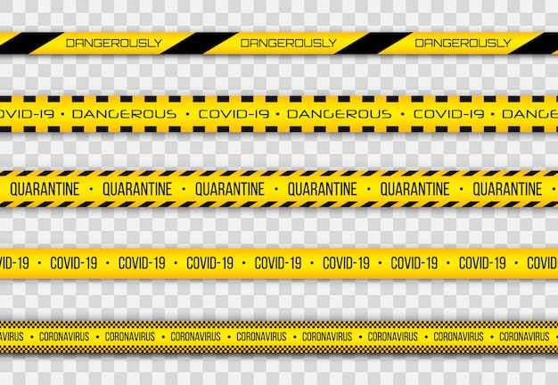 Coronavirus (2019-ncov), realistic seamless yellow and white security tapes, warning tape fencing flu. global pandemic of covid-2019. pandemic novel coronavirus covid-19 disease.