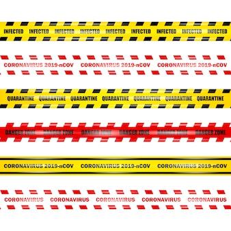 コロナウイルス2019-ncov、孤立した背景に黄色と赤のシームレスなセキュリティテープ、コロナウイルステープ、イラストを設定