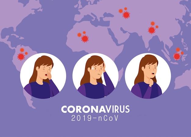 コロナウイルス2019のncovの症状と女性のイラスト