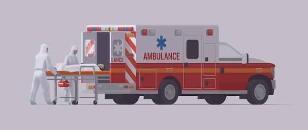 コロナウイルス。担架で感染した患者を運ぶ救急車の緊急救急隊員