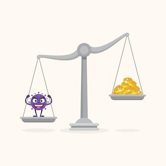 不均衡なスケールのコロナウイルスとコイン。