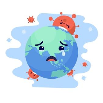 コロナウイルスが世界のキャラクターを攻撃し、地球が泣いている。世界コロナウイルスとcovid-19の大流行とパンデミック攻撃の概念。