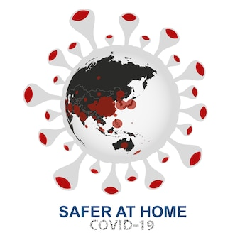 Коронавирус атакует мир, земной шар с видом вируса covid-19 на азию и океанию, векторная иллюстрация.