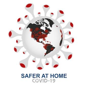 Коронавирус атакует мир, земной шар с видом вируса covid-19 на северную америку и южную америку, векторная иллюстрация.