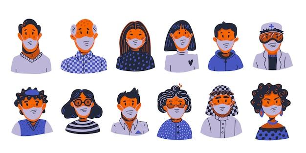 Coronavirus avatars. novel coronavirus covid-19, people in medical face masks. spread of the virus, pandemic.