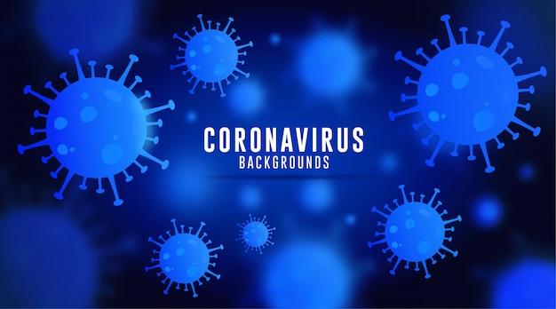 コロナウイルスの背景、covid-19の背景、ウイルスの背景、青いグラデーションのコロナウイルスの背景