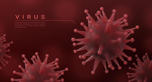 코로나바이러스 배경. 현실적인 3d 미생물, 독감 및 폐렴 병균, 코비드-19 미생물학 개념. 벡터 2019-ncov 포스터 추상 현미경 생물학 바이러스